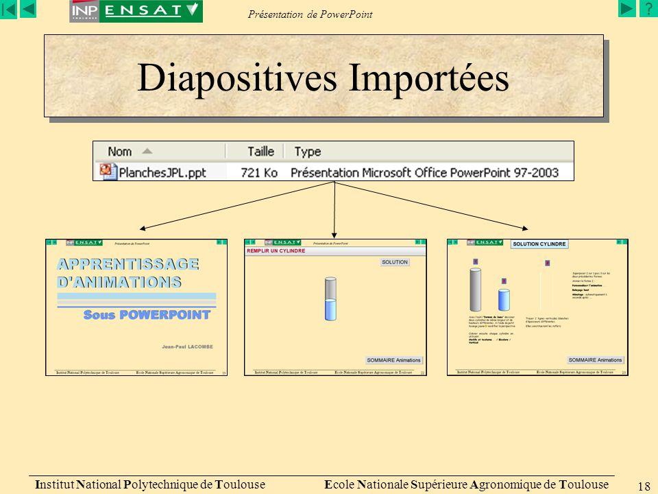 Diapositives Importées