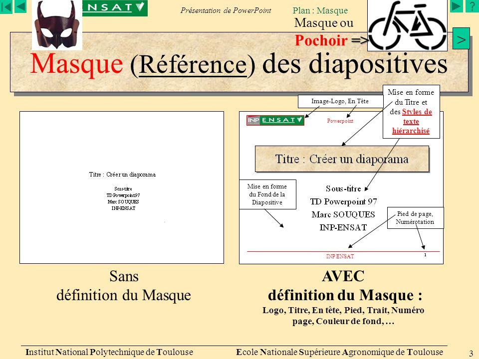 Masque (Référence) des diapositives