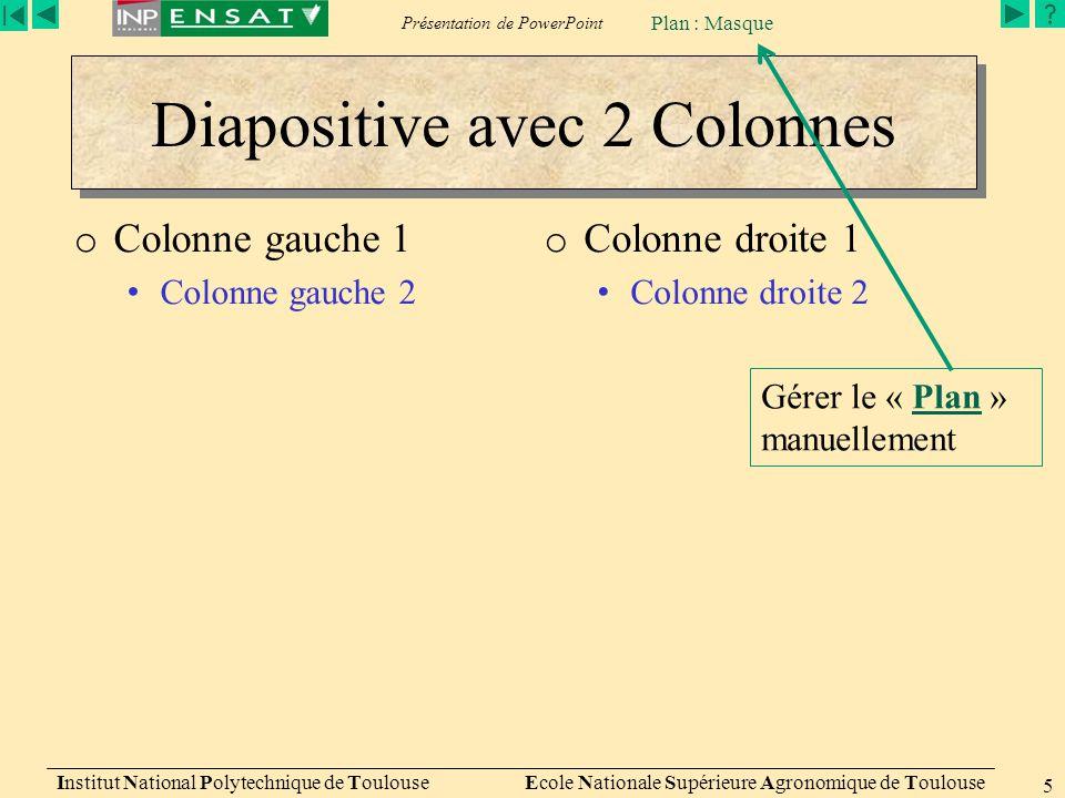 Diapositive avec 2 Colonnes