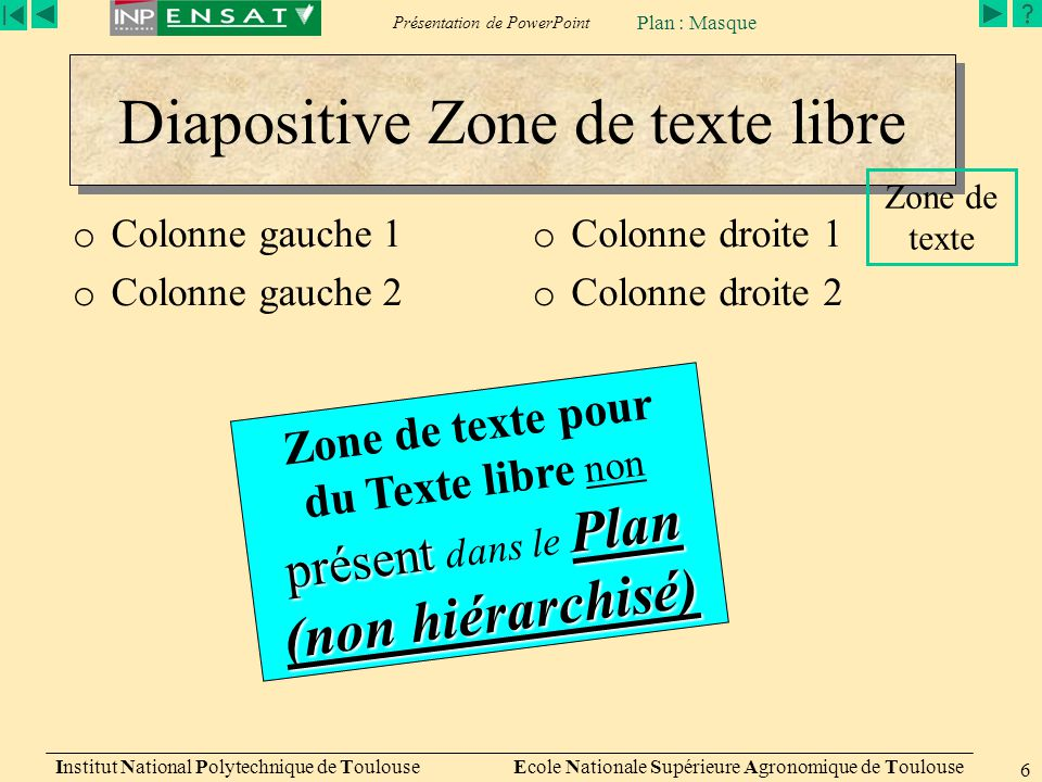 Diapositive Zone de texte libre