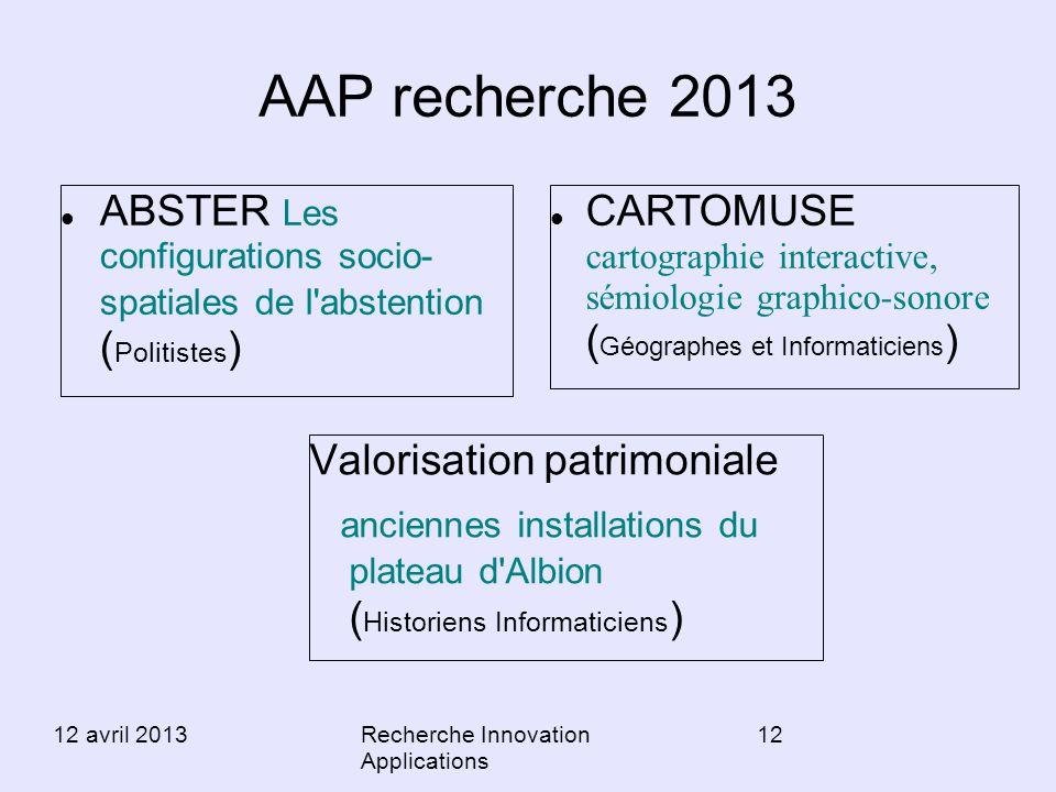 AAP recherche 2013 ABSTER Les configurations socio- spatiales de l abstention (Politistes)