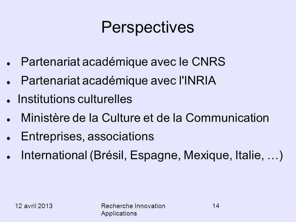 Perspectives Partenariat académique avec le CNRS