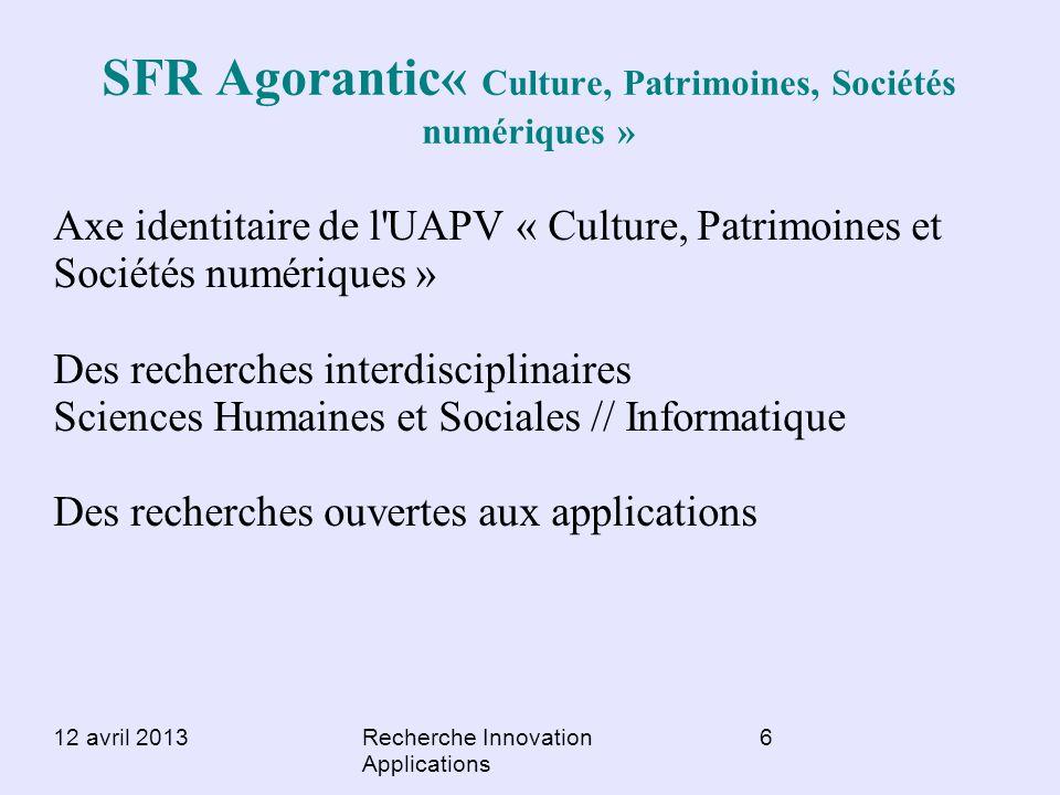 SFR Agorantic« Culture, Patrimoines, Sociétés numériques »