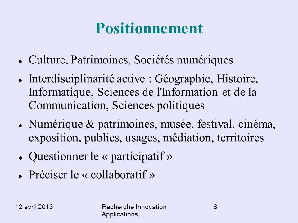 Positionnement Culture, Patrimoines, Sociétés numériques