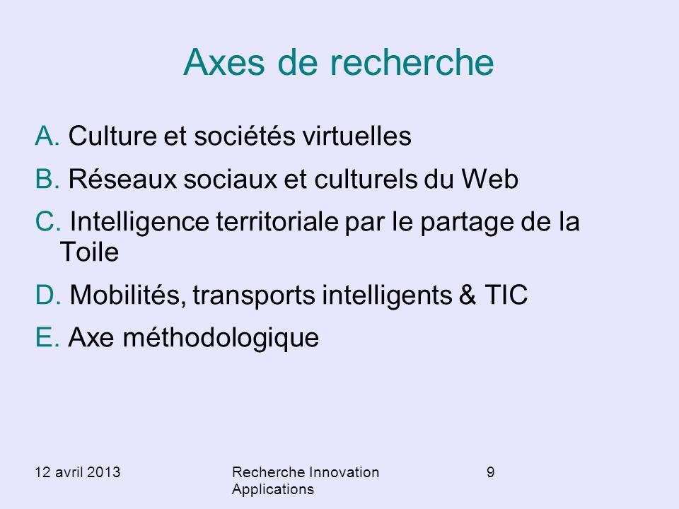 Axes de recherche A. Culture et sociétés virtuelles