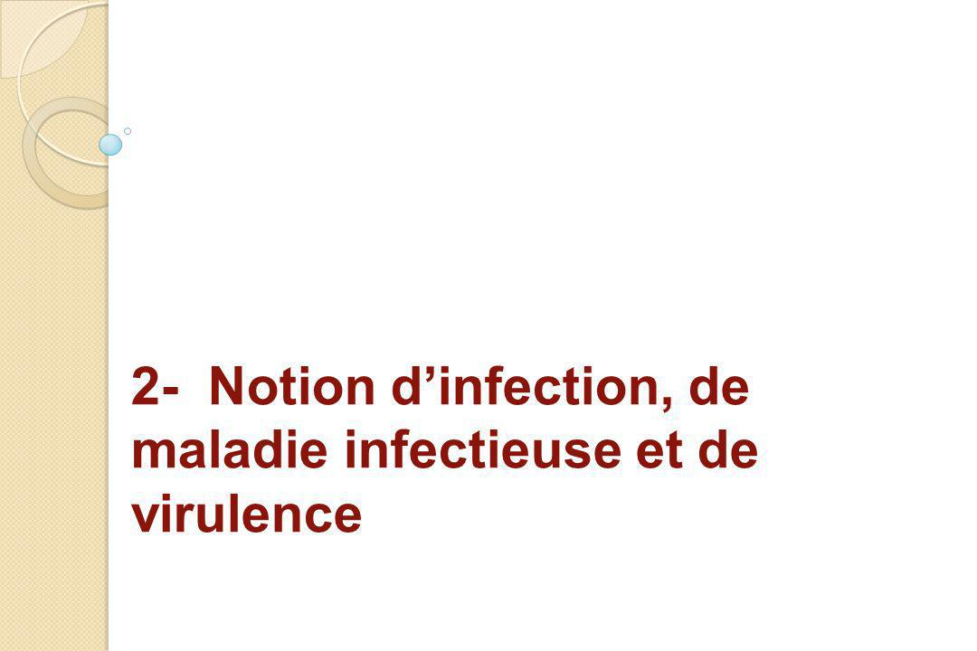 2- Notion d'infection, de maladie infectieuse et de virulence