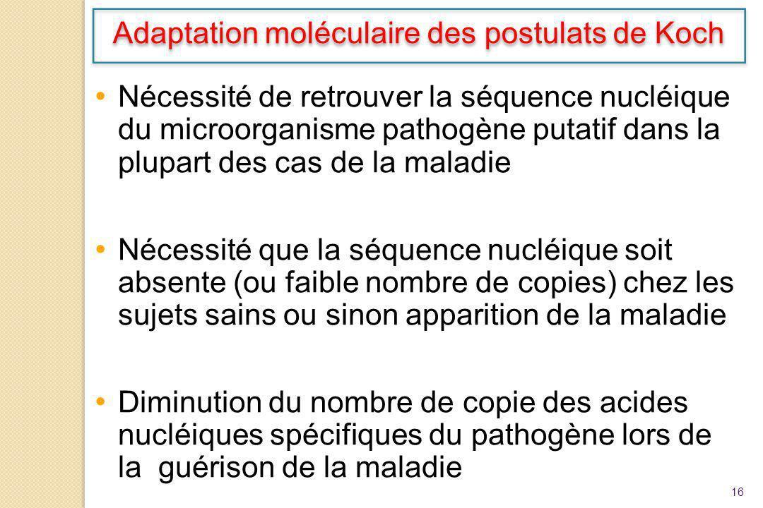Adaptation moléculaire des postulats de Koch