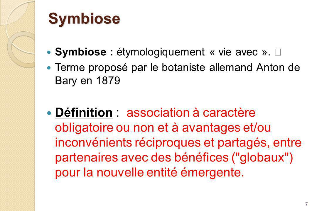 Symbiose Symbiose : étymologiquement « vie avec ».  Terme proposé par le botaniste allemand Anton de Bary en 1879.