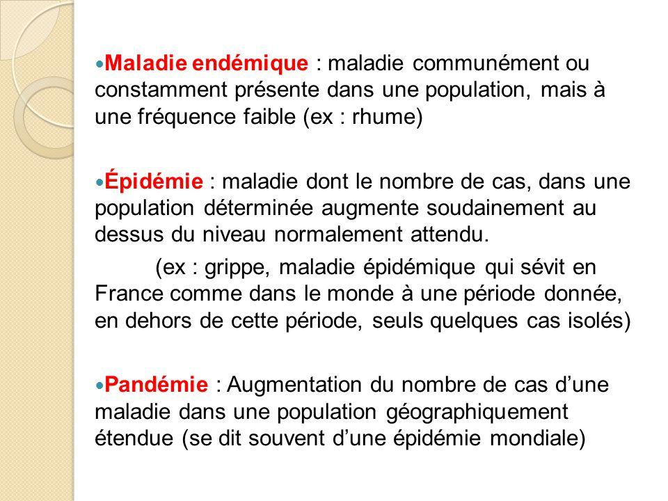 Maladie endémique : maladie communément ou constamment présente dans une population, mais à une fréquence faible (ex : rhume)