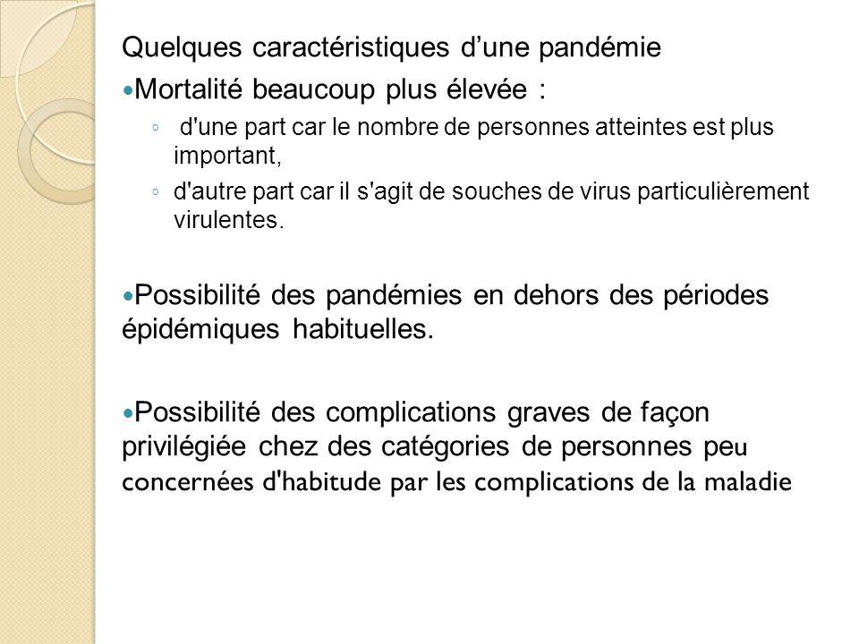 Quelques caractéristiques d'une pandémie