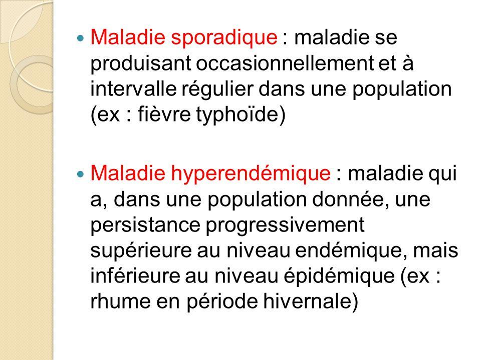 Maladie sporadique : maladie se produisant occasionnellement et à intervalle régulier dans une population (ex : fièvre typhoïde)