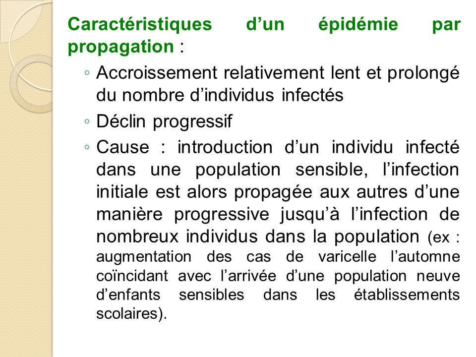 Caractéristiques d'un épidémie par propagation :