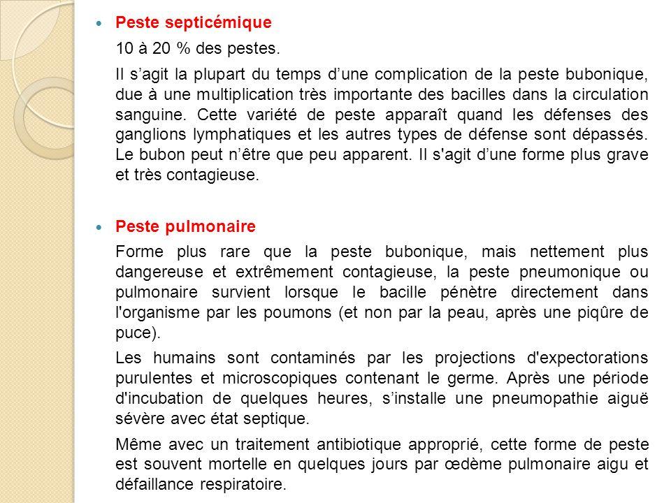 Peste septicémique 10 à 20 % des pestes.
