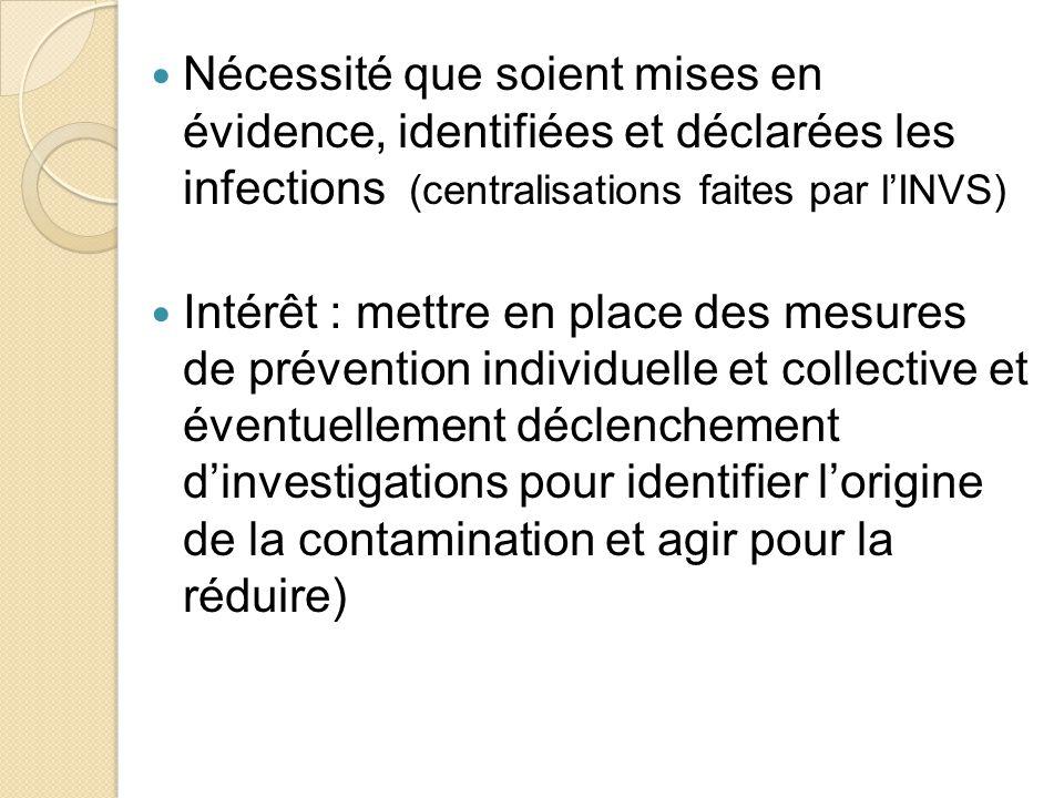 Nécessité que soient mises en évidence, identifiées et déclarées les infections (centralisations faites par l'INVS)
