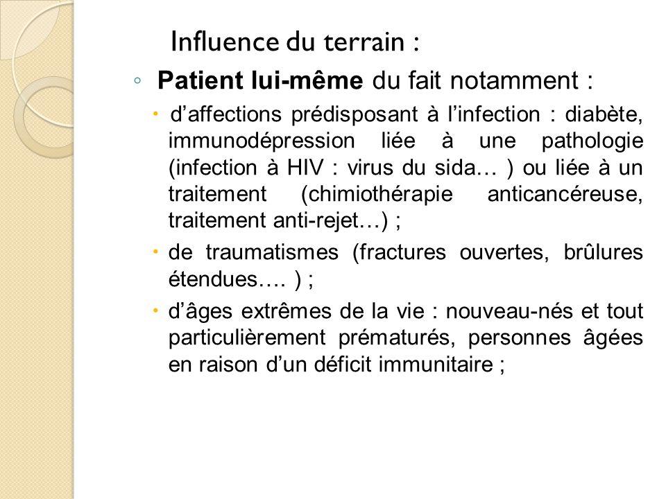 Influence du terrain : Patient lui-même du fait notamment :