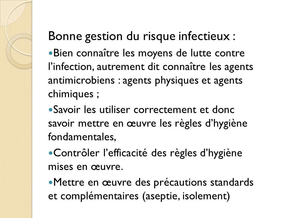 Bonne gestion du risque infectieux :