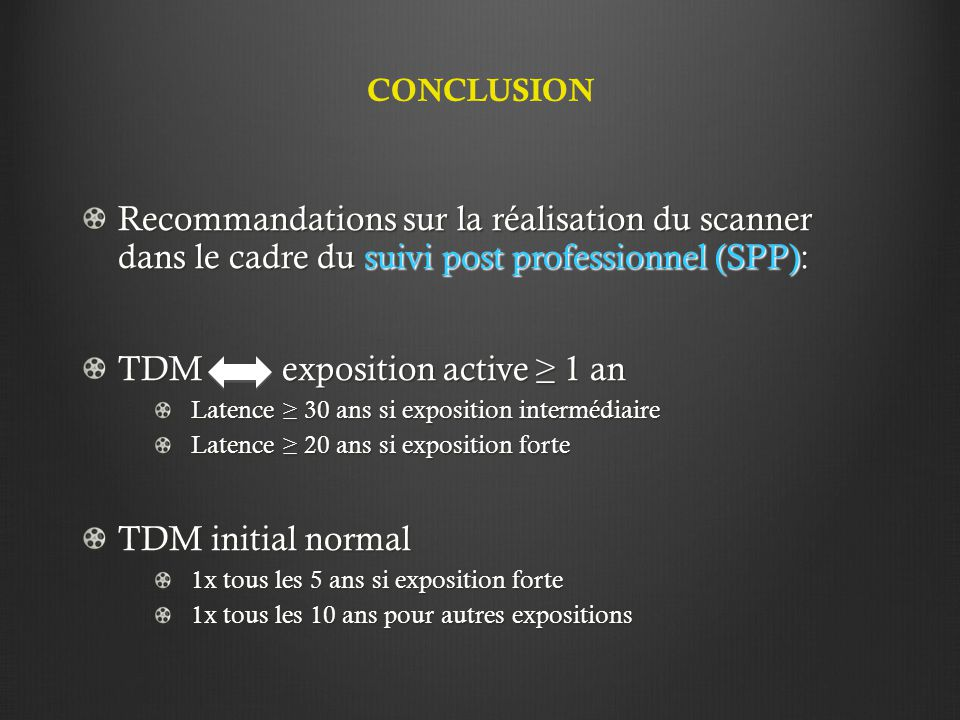 TDM exposition active ≥ 1 an