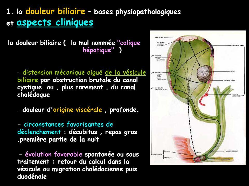 1. la douleur biliaire – bases physiopathologiques et aspects cliniques