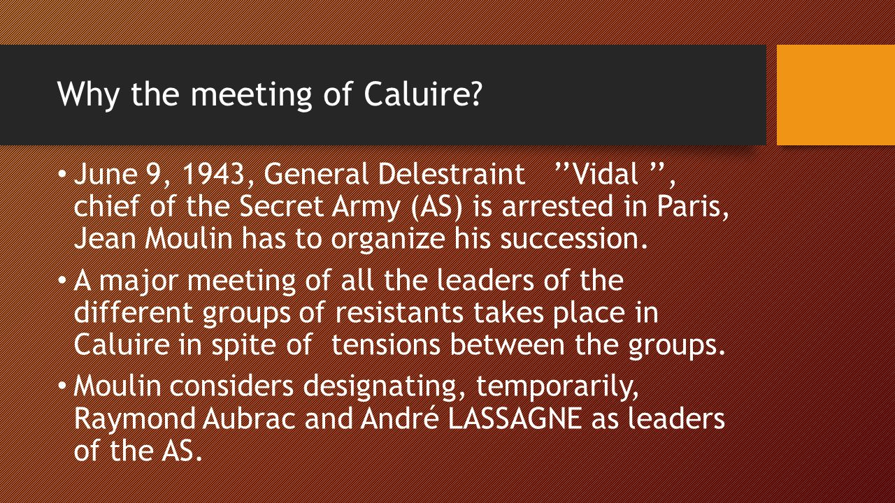 Why the meeting of Caluire