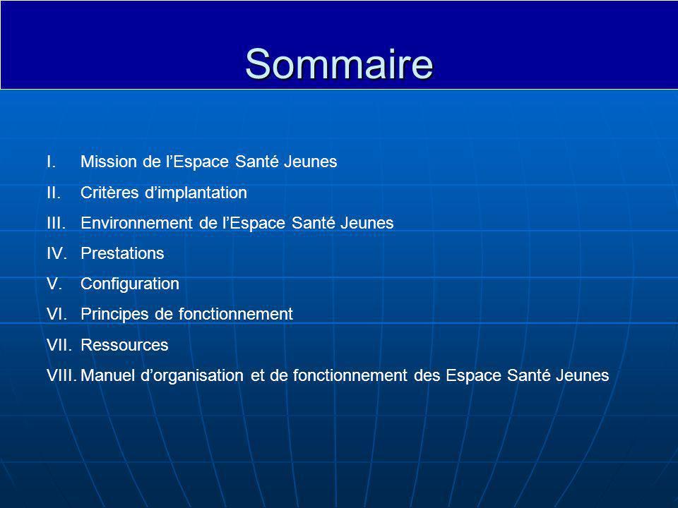 Sommaire Mission de l'Espace Santé Jeunes Critères d'implantation