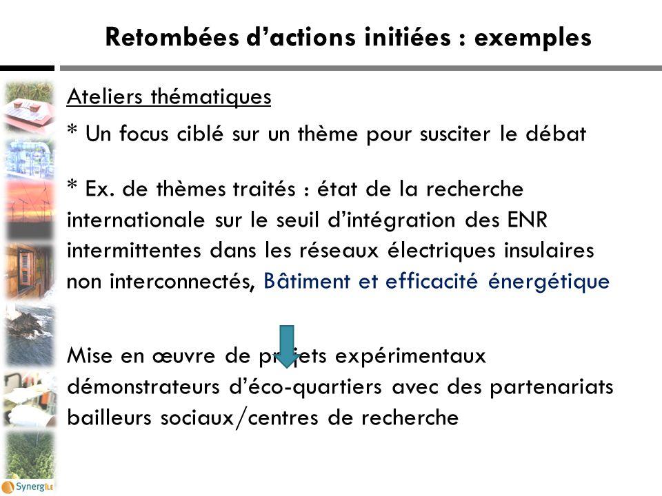 Retombées d'actions initiées : exemples