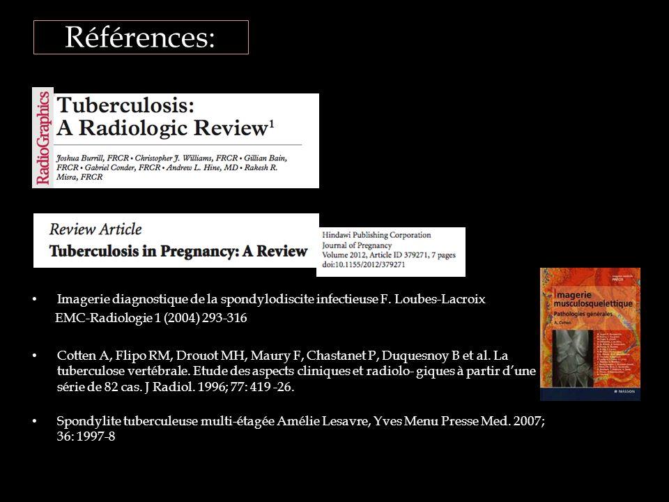 Références: Imagerie diagnostique de la spondylodiscite infectieuse F. Loubes-Lacroix. EMC-Radiologie 1 (2004) 293-316.