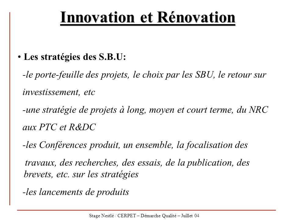 Innovation et Rénovation
