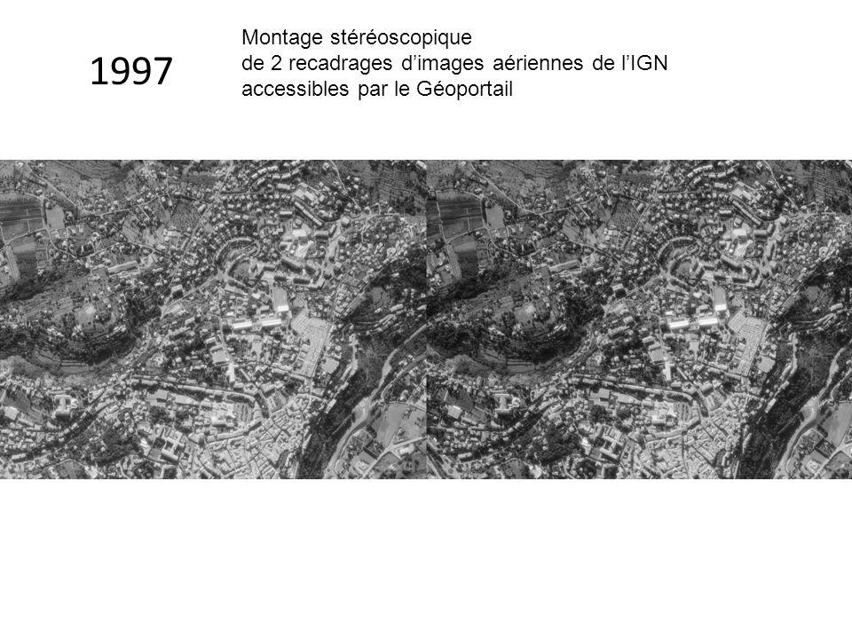 Montage stéréoscopique de 2 recadrages d'images aériennes de l'IGN accessibles par le Géoportail