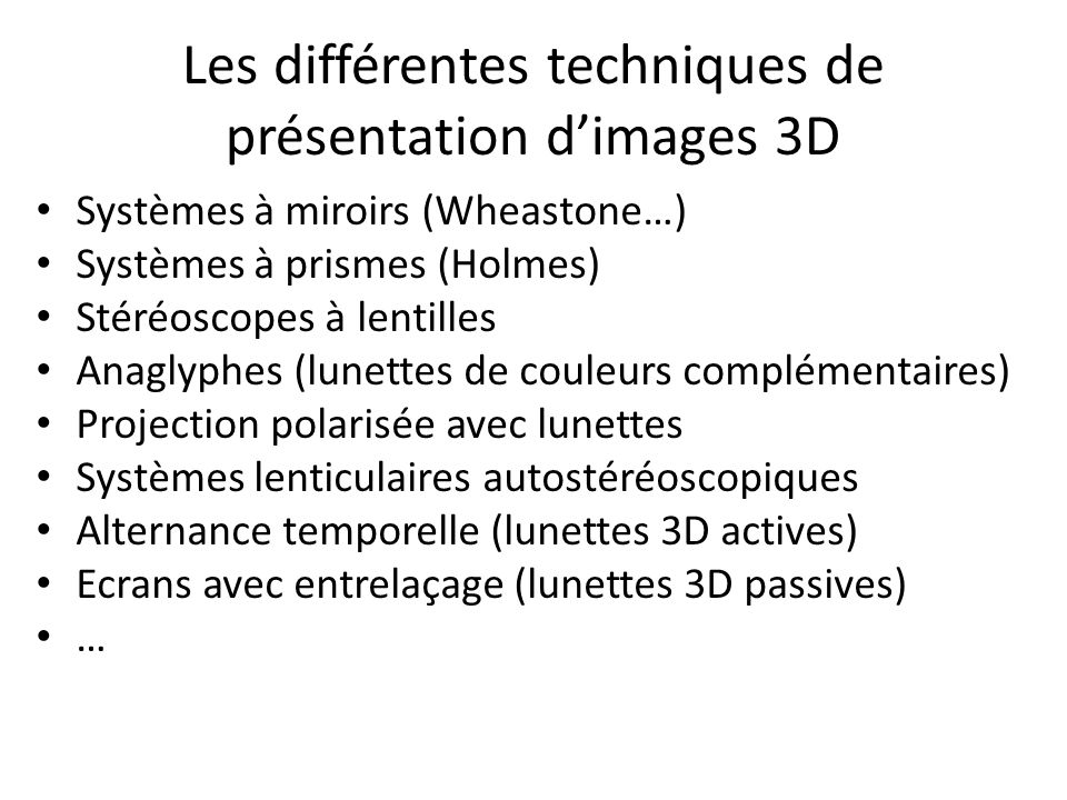 Les différentes techniques de présentation d'images 3D