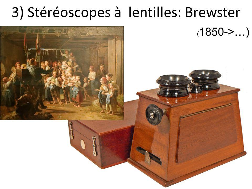 3) Stéréoscopes à lentilles: Brewster