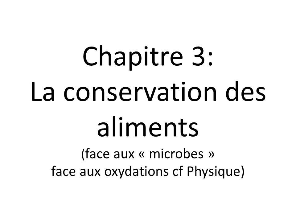 Chapitre 3: La conservation des aliments (face aux « microbes » face aux oxydations cf Physique)