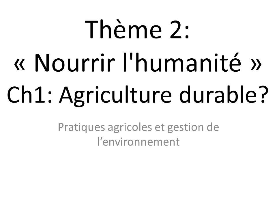 Thème 2: « Nourrir l humanité » Ch1: Agriculture durable