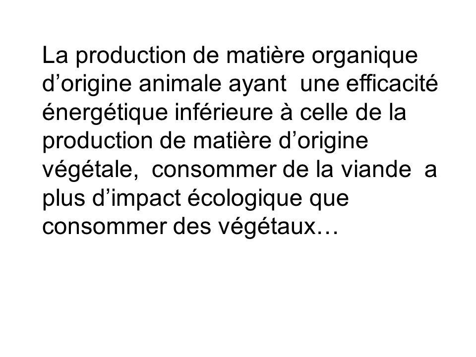 La production de matière organique d'origine animale ayant une efficacité énergétique inférieure à celle de la production de matière d'origine végétale, consommer de la viande a plus d'impact écologique que consommer des végétaux…