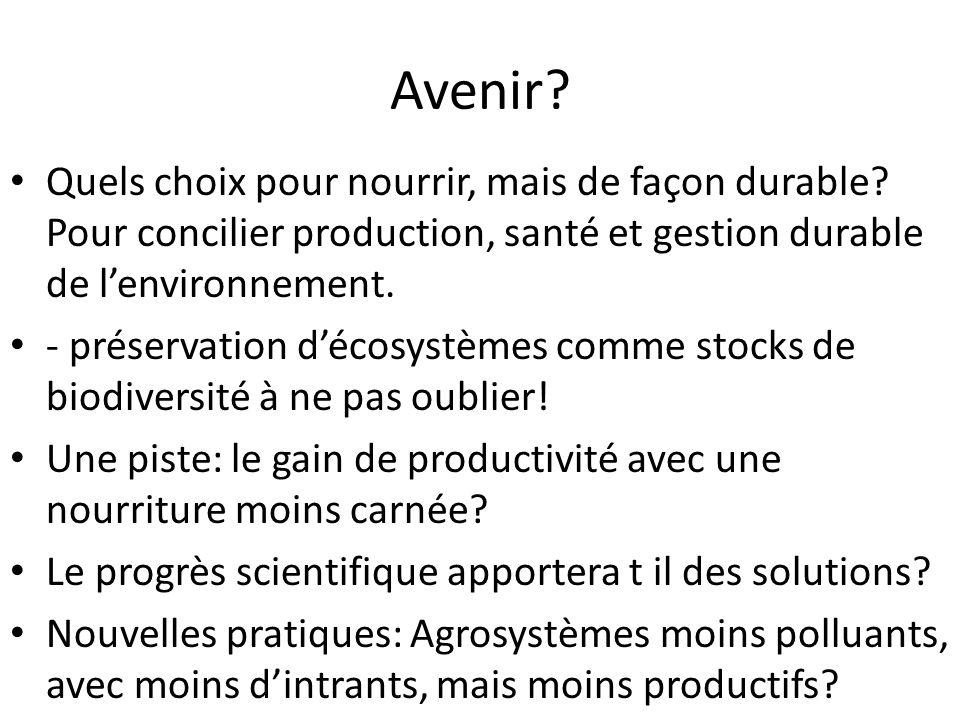 Avenir Quels choix pour nourrir, mais de façon durable Pour concilier production, santé et gestion durable de l'environnement.