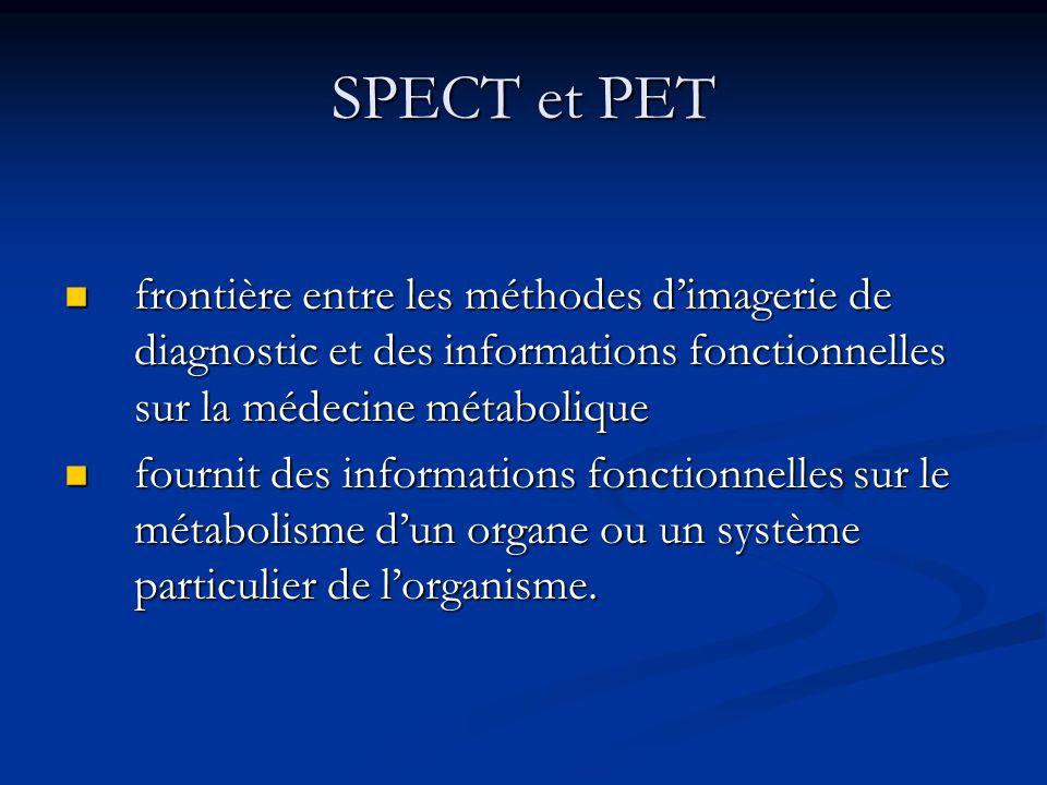 SPECT et PET frontière entre les méthodes d'imagerie de diagnostic et des informations fonctionnelles sur la médecine métabolique.