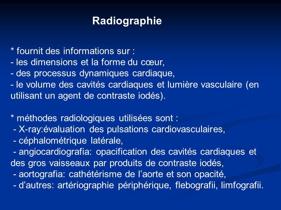 Radiographie * fournit des informations sur :