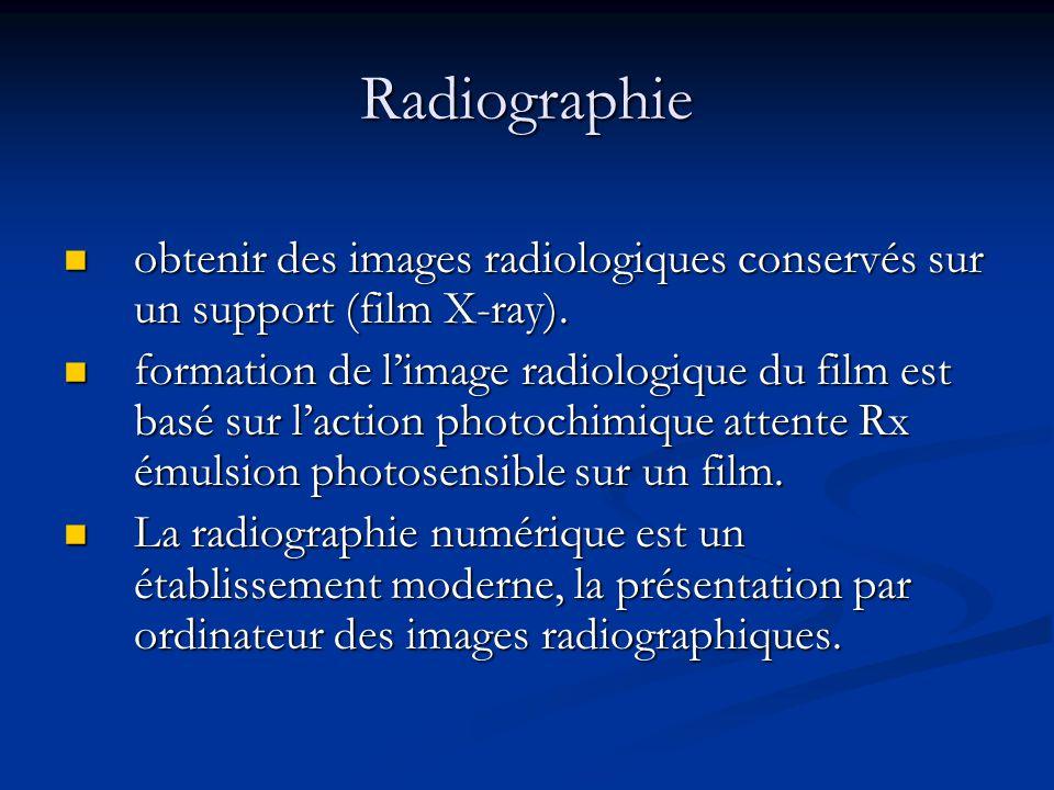 Radiographie obtenir des images radiologiques conservés sur un support (film X-ray).