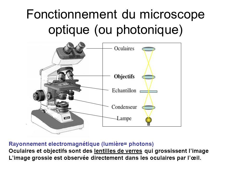 Fonctionnement du microscope optique (ou photonique)