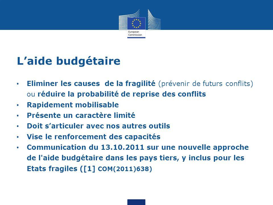 L'aide budgétaire Eliminer les causes de la fragilité (prévenir de futurs conflits) ou réduire la probabilité de reprise des conflits.