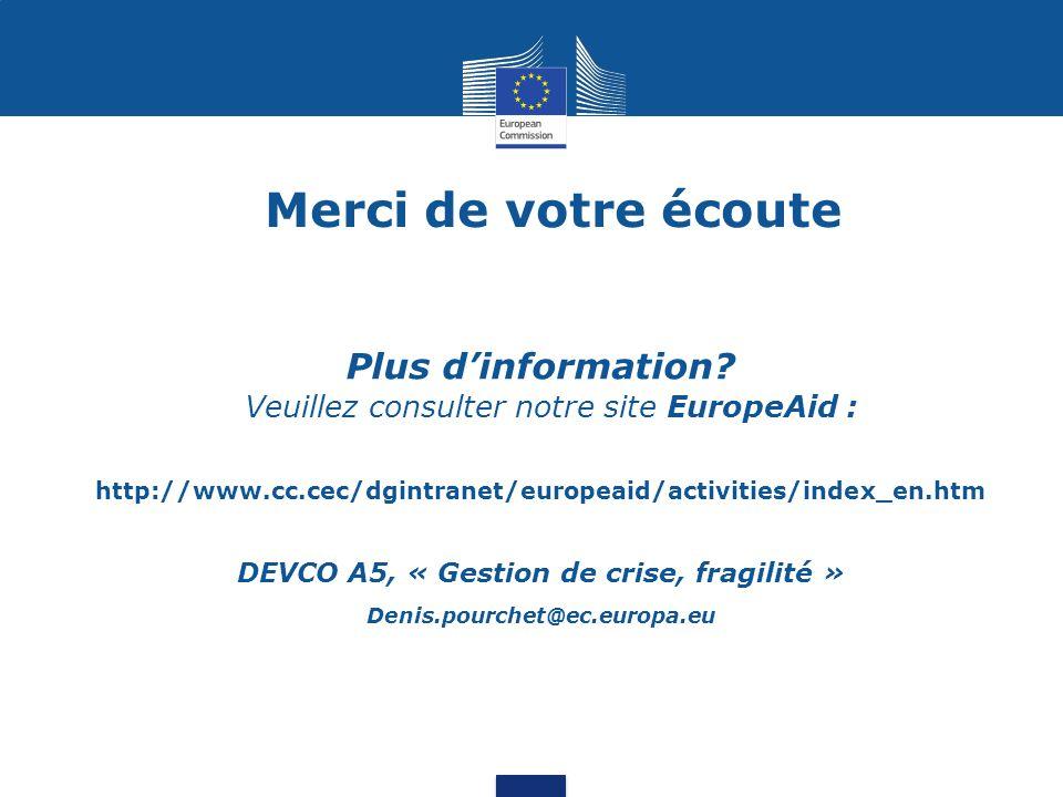 DEVCO A5, « Gestion de crise, fragilité »