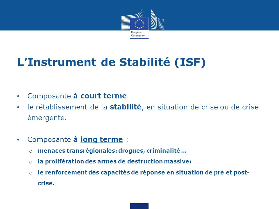 L'Instrument de Stabilité (ISF)