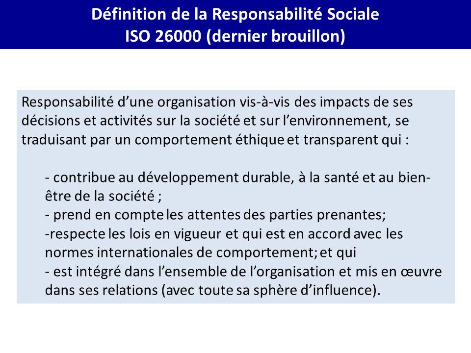 Définition de la Responsabilité Sociale ISO 26000 (dernier brouillon)