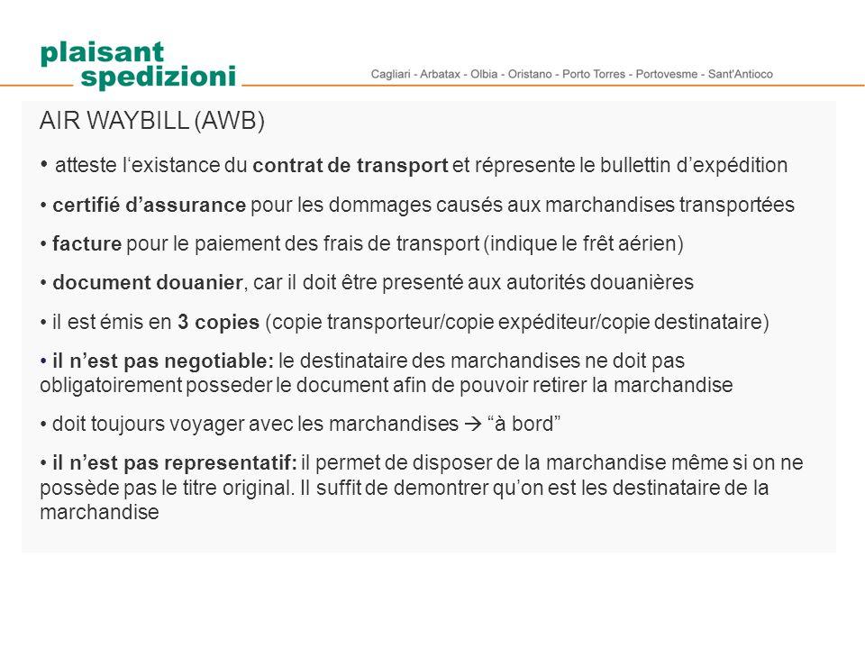 AIR WAYBILL (AWB) atteste l'existance du contrat de transport et répresente le bullettin d'expédition.