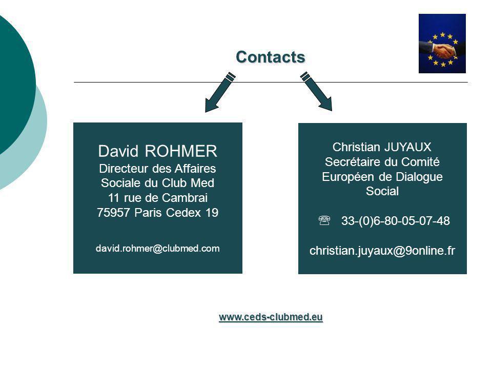 David ROHMER Directeur des Affaires Sociale du Club Med