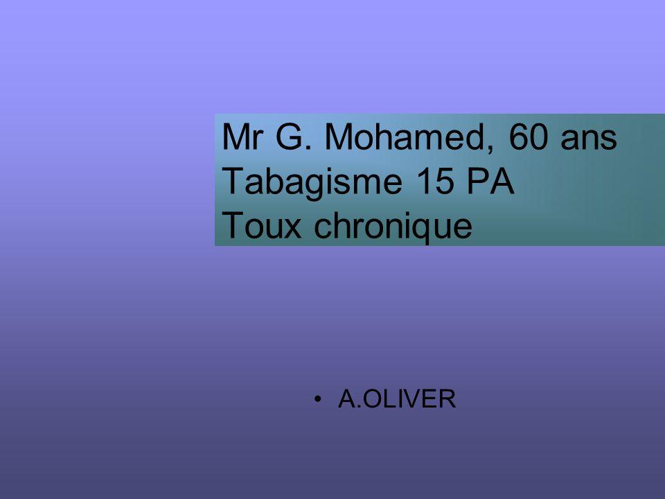 Mr G. Mohamed, 60 ans Tabagisme 15 PA Toux chronique