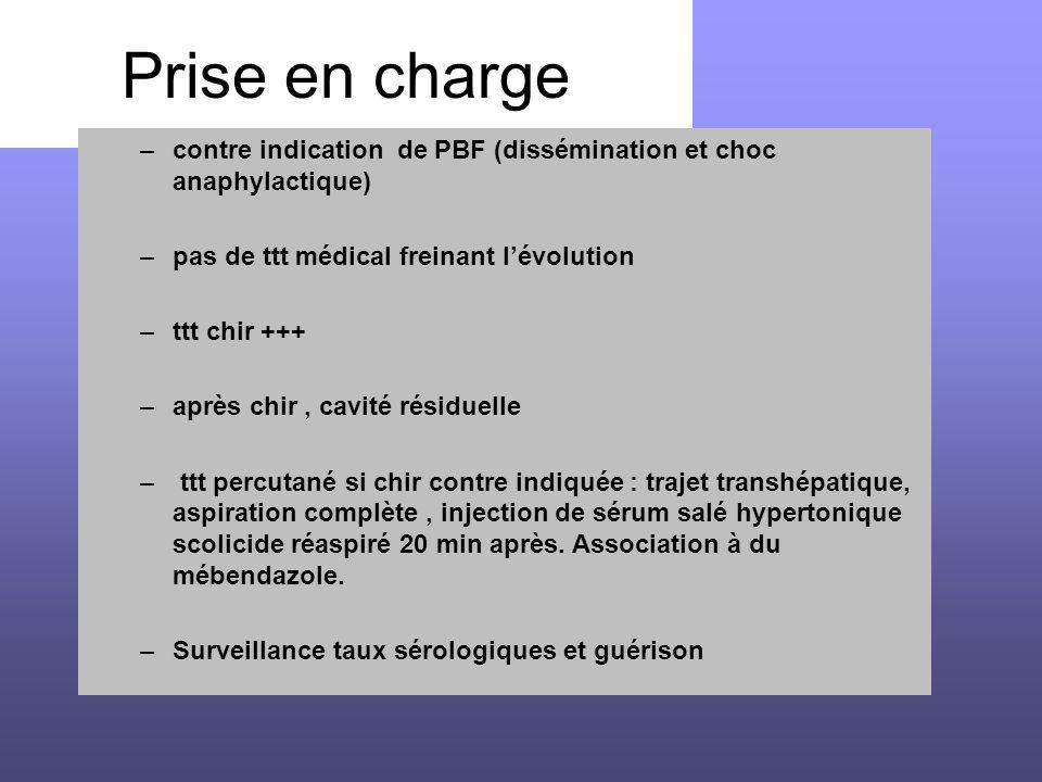 Prise en charge contre indication de PBF (dissémination et choc anaphylactique) pas de ttt médical freinant l'évolution.
