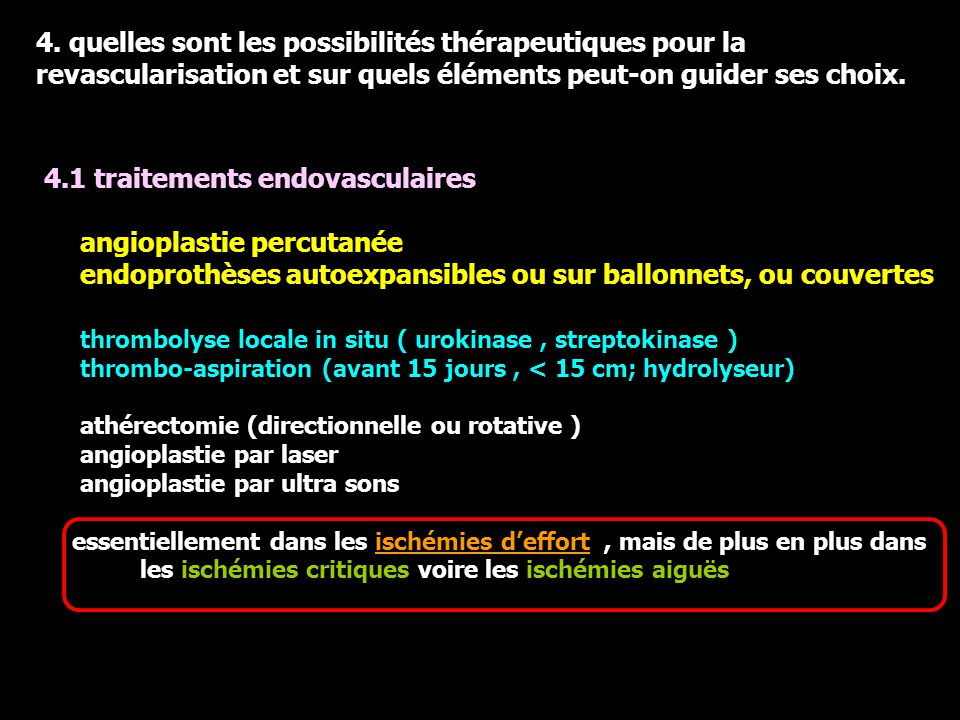 4.1 traitements endovasculaires