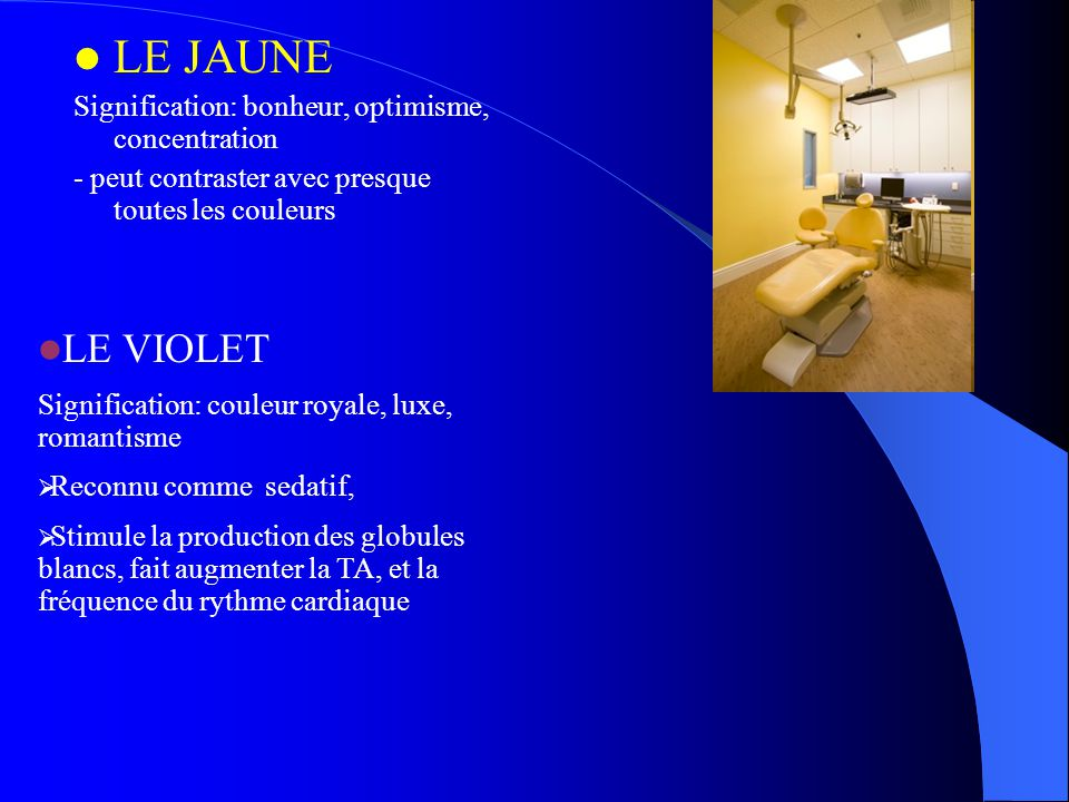 LE JAUNE LE VIOLET Signification: bonheur, optimisme, concentration