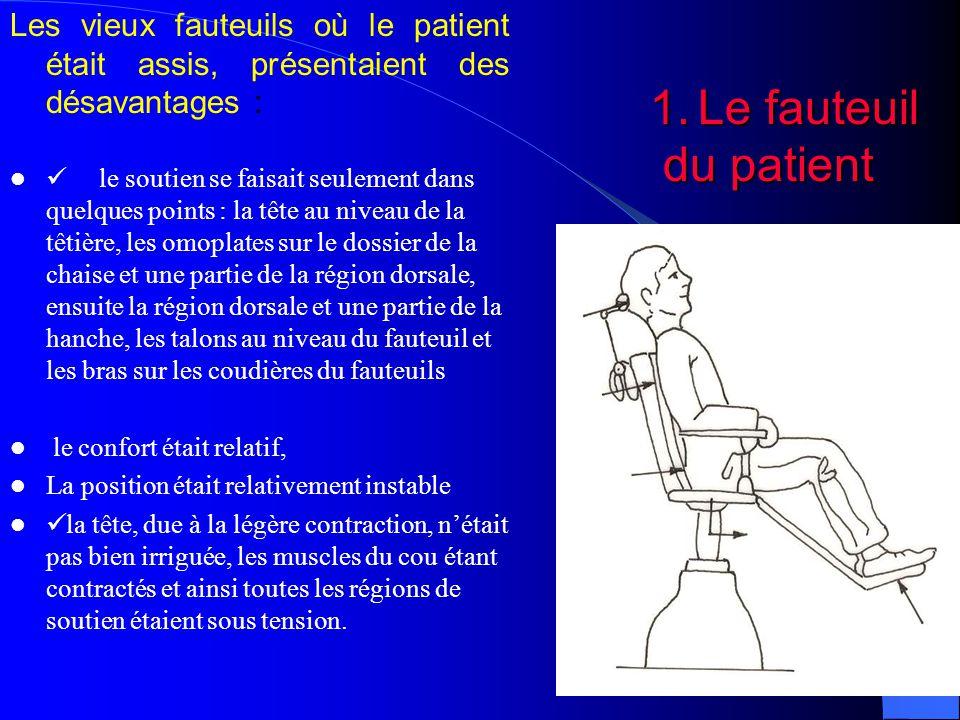Les vieux fauteuils où le patient était assis, présentaient des désavantages :
