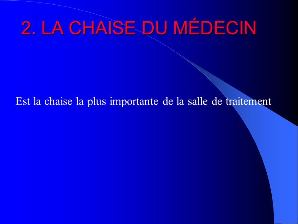 2. LA CHAISE DU MÉDECIN Est la chaise la plus importante de la salle de traitement